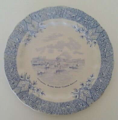 Antique Wedgwood Rack Plate Horticultural Building Columbian Expo Blue & White