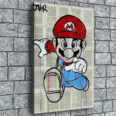 """12""""x18""""Mario In The Newspaper Painting Print on Canva Home Decor Wall Art Poster"""