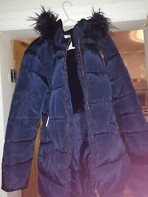 Matalan Girls Winter padded jacket aged 12 years Navy Blue, Rain resistant