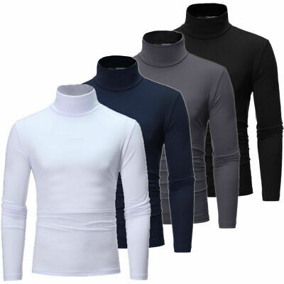AU Men's Turtle High Neck Long Sleeve Sweater Tops Pullover T Shirts Winter Fall