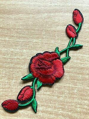 Rose Flower Vine Embroidery Iron/Sew On Patch Badge For Craft Leaf Bud Blossom