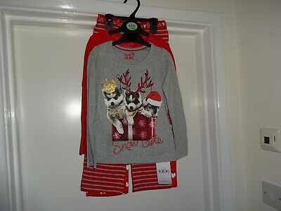 Marks And Spencer Set Of Two Giirls Christmas Pyjamas Age 4 - 5 Years New