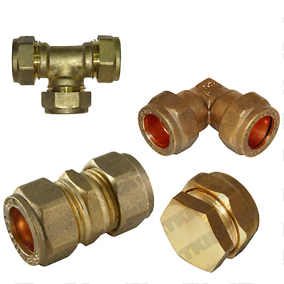 10mm Brass Compression fittings for Copper Plumbing Pipe Hot & Cold Systems