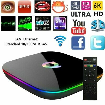 Tv Box Q Plus 6K Max 4Gb 64Gb Android 9.0 4K Tv Box Wi-Fi 4 Core Wifi