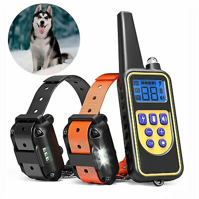 Dog Shock Training Collar Rechargeable LCD Remote Control Waterproof 880 Yards