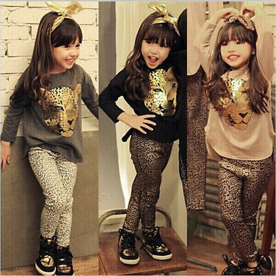Toddler Baby Girls Tiger Print Long Sleeve Tops+Leopard Pants Outfit Clothes Set