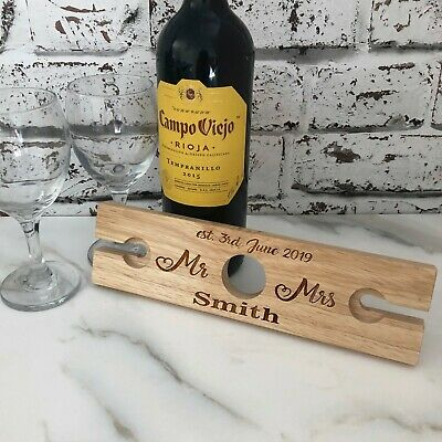 Personalised Mr & Mrs Couple Name Wooden Wine Glass & Bottle Butler Holder
