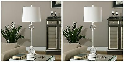 """Pair 34"""" Bordolano Modern French Polished Nickel Metal Cut Glass Table Lamps"""