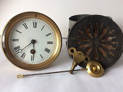 Vintage French Clock Movement Complete Matching Pendulum Key Door Sleeve Screws