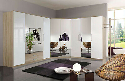 Munich German 4, 3, 2 Door Corner Wardrobe Oak / White Gloss Bedroom Furniture