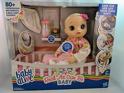 New Baby Alive Real As Can Be Blonde Baby Doll 80+ Lifelike Expressions Sounds