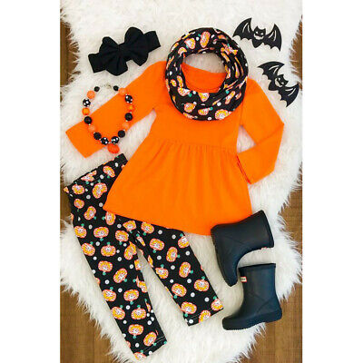 Toddler Kids Baby Girls Halloween Dress+Cartoon Print Pants+Headband Outfits Set