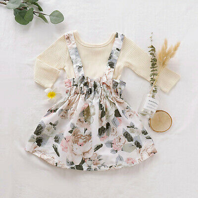 Toddler Baby Girls Long Sleeve Solid Tops+Floral Print Suspender Skirts Outfits