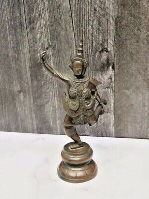 Thai Teppanom Bronze Statue Hindu Dancing Male Pointed Headdress Idol One Foot