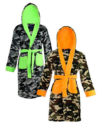 Varsani Clothing Children's Boys Star Print Camouflage Dressing Gown Robe