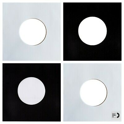 "24 SHEETS - BLACK & WHITE PAPER RECORD SLEEVES W/HOLES FOR 7"" VINYL EPs (45RPM)"