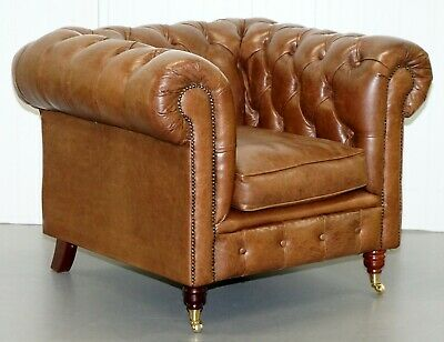 Chesterfield Tufted Heritage Brown Leather Armchair Part Of A Large Suite Sofas
