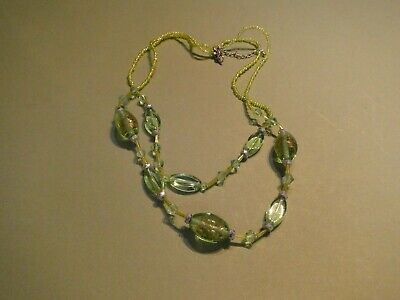 Fabulous Green Glass   Beaded Necklace