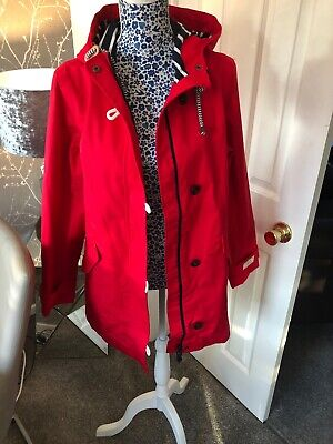 Joules Coast Mid Waterproof Hooded Cotton Canvas Jacket Red Size 18 New Rrp£106