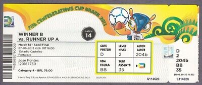 TICKET FIFA Confederation Cup 2013 Spain - Italy 27th June SEMI-FINAL Brazil #14