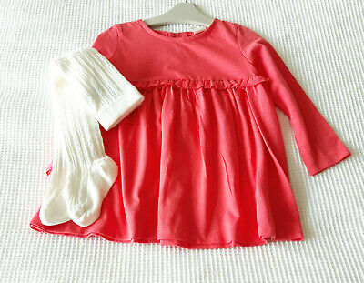Next Baby Girls Pink Dress & Cable Cream Tights Age 12-18 Months BNWT