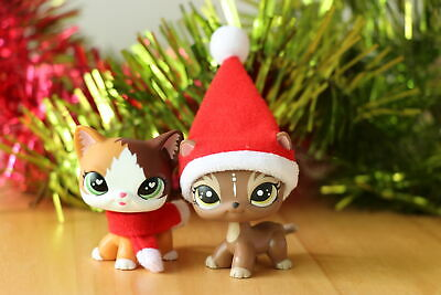 2x Lpsloverqa Short Hair Cat Flame Cat Elk Cat Kitty With Santa Accessories