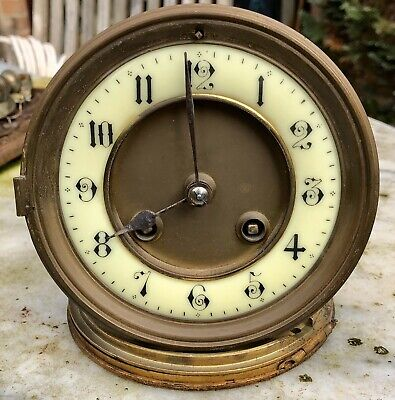 Antique French Brocot Mantle Clock Movement With Dial, Bell & Rear Door.