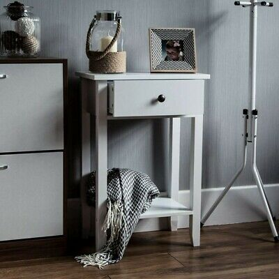 Small Telephone Table Hall Plant Stand White Wood Side Drawer Bedside Lamp Unit