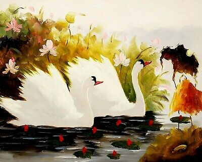 CHOP277 charm  modern Lotus landscape hand-painted oil painting on canvas