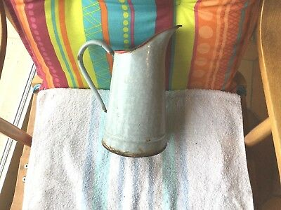 Ancienne Cruche En Tole Emaillee Grise Mouchettee Old Tool  Deco Retro