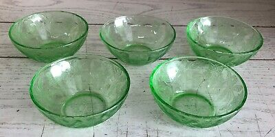 """5 Jeannette Floral / Poinsettia Green 4"""" Inch Berry Bowls Depression Glass"""