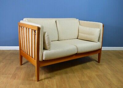 Mid Century Retro Danish Two Seat Cream Wool Sofa by Nielaus and Jeki Mobler 70s