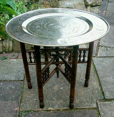 Antique Chinese  Folding Side Table With  Brass Tray