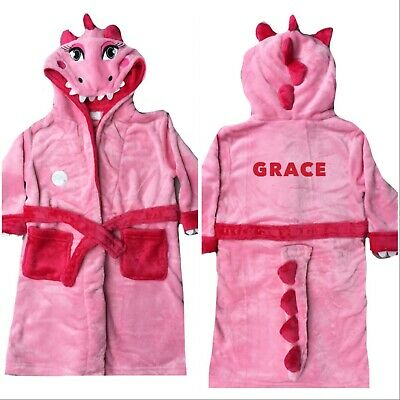 Personalised Embroidered Girls Novelty Dino Hooded Plush Fleece Dressing Gown