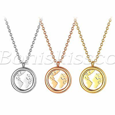 Polished Hollow World Map Tag Pendant Necklace Sweater Chain Gift For Men Women