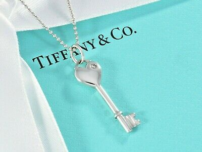 "Tiffany & Co Sterling Silver Diamond Heart Key Pendant 18"" Bead Chain Necklace"