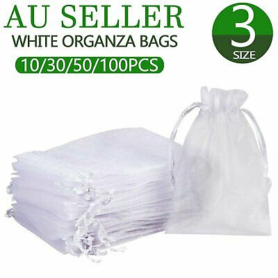 10-100Pcs White Organza Bags Sheer Jewellery Wedding Candy Packaging Gift Bags