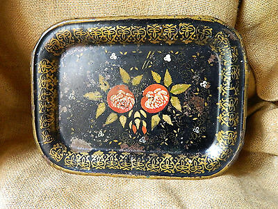 1800'S Antique  Enameled & Hand Painted Toleware Tray W Pomegranates & Frieze