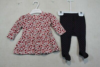 Baby Girl Size 000,00 Marquise Winter Red Swing Top With Navy Leggings NWT