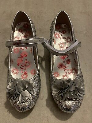 Girls Silver Sparkly Party Shoes Size 2