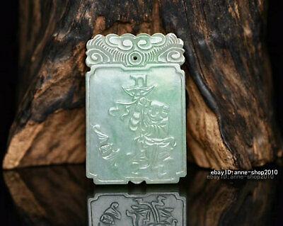 6cm China natural Old Emerald Jade Hand-carved character  Pendant Amulet  AJJO