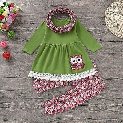 Children Kids Girls Cartoon Embroider Owl Dress+Floral Pants+Scarf Sets Outfits