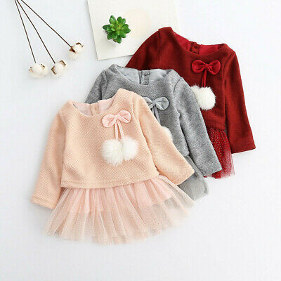 Toddler Baby Kids Girls Knitted Bow Skirt Newborn Tutu Princess Dress Outfits