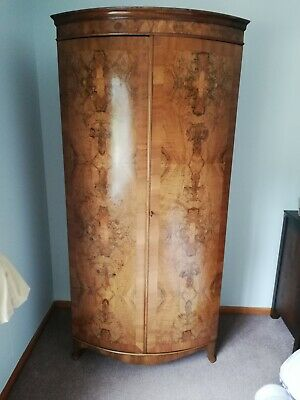 Small Antique English Art Deco Burr Walnut Two Door  Wardrobe