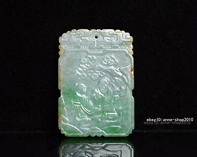 5.4cm China natural Old Emerald Jade Hand-carved character Pendant Amulet  AJJO