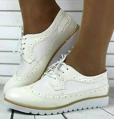 Ladies White Low Platform Lace-Up Oxford Brogue Work School Shoes Sizes 3 - 8