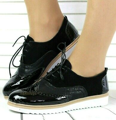 Ladies Black Faux Patent / Suede Flat Lace-Up Oxford Brogue Work School Shoes