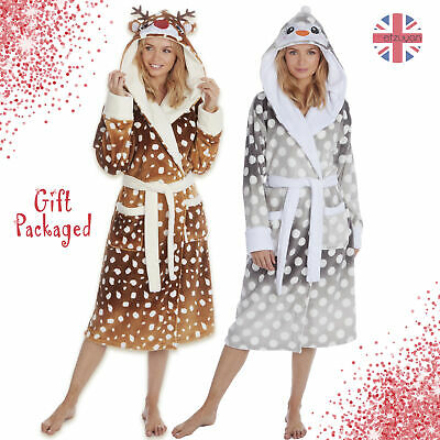 Ladies Luxury Shimmer Dressing Gowns Girls Polka Dots Ombre Print Womens Robes