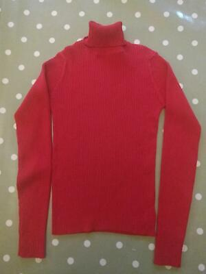 Next Girls Red Ribbed Polo Neck Jumper 13 Years 158cm Immaculate!
