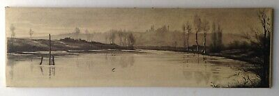 CAMILLE COROT Pencil Drawing 19th Century Landscape at the pond BARBIZON SCHOOL